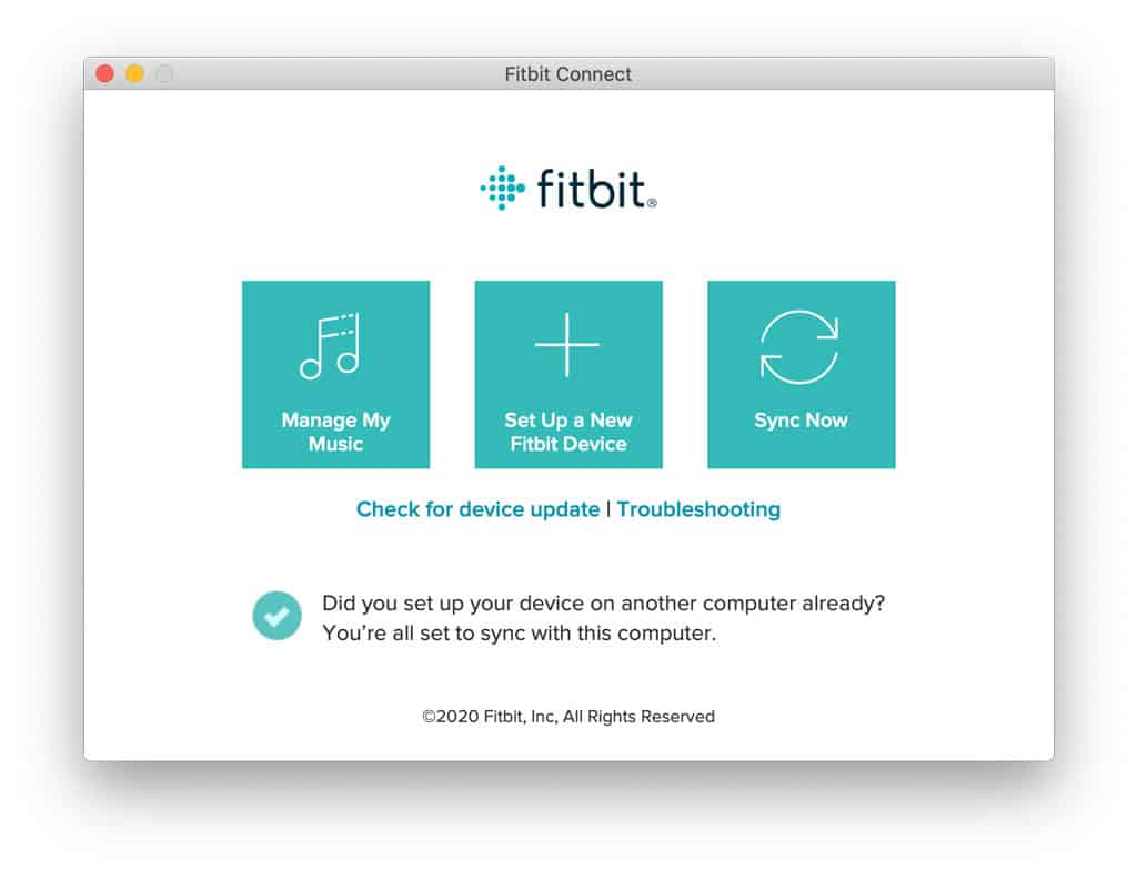 set up new device using Fitbit connect