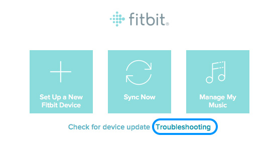 Troubleshooting Fitbit Connect on main menu