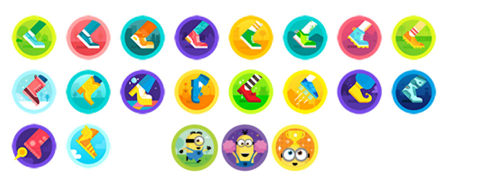 Fitbit's daily badges including Minions