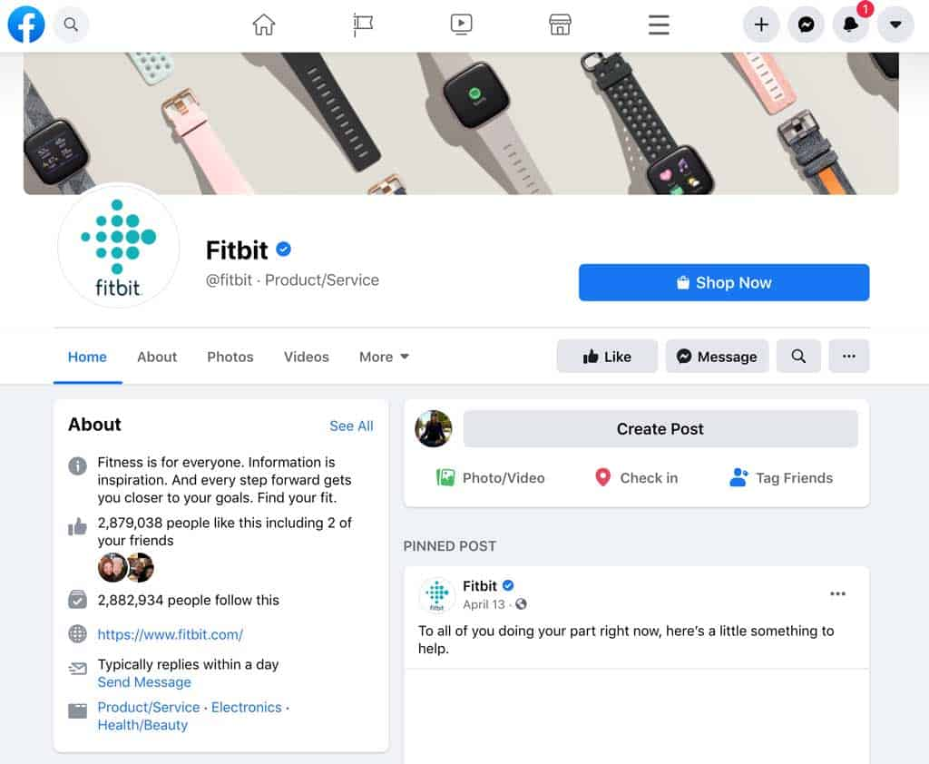Fitbit's Facebook and Facebook Messenger page