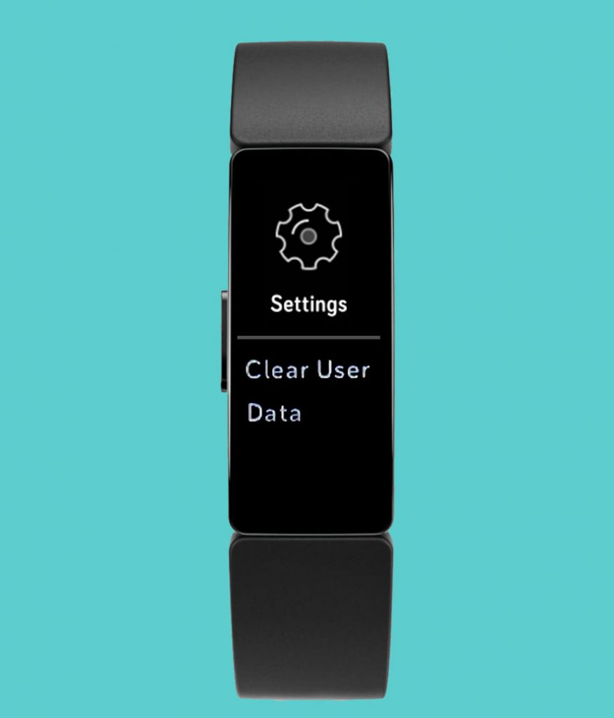 clear user data in settings Fitbit Inspire
