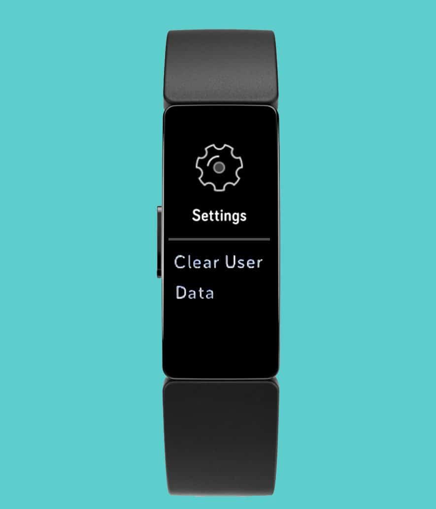 clear user data in settings Fitbit Inspire