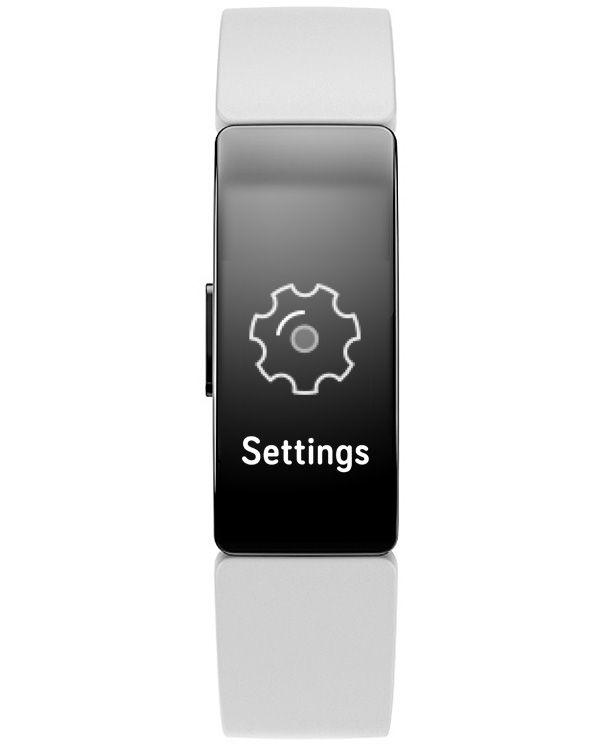 settings menu on Fitbit Inspire