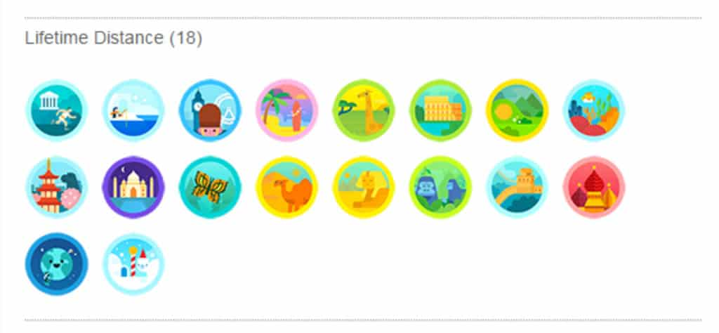 Fitbit's lifetime badges for distance
