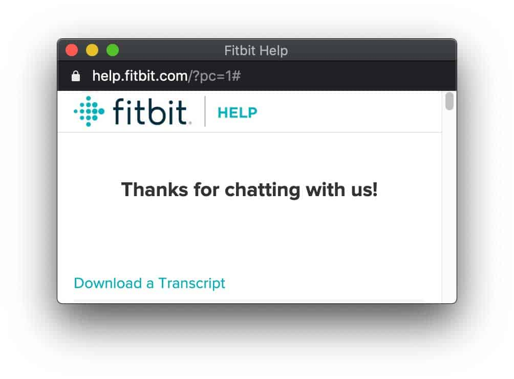 download Fitbit Live Chat transcript