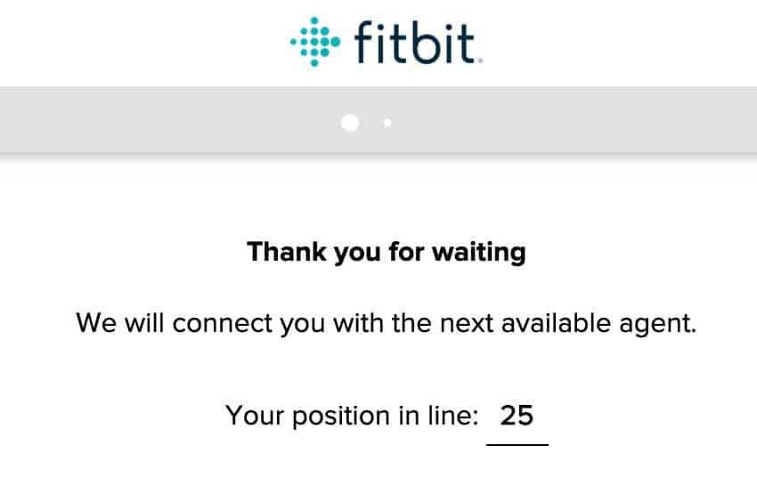 position in Fitbit Live Chat line