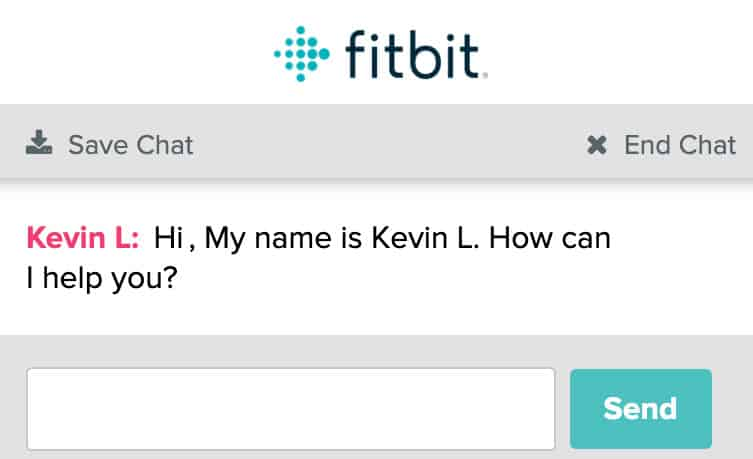 Chatbox for fitbit live chat