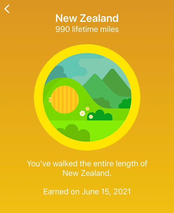 New Zealand lifetime badge on Fitbit