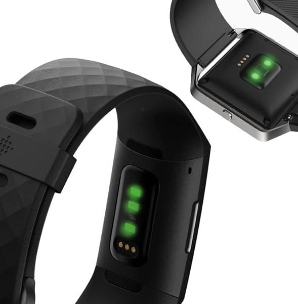 Fitbit uses green light to detect blood flow and your heart rate and pulse using Photoplethysmography