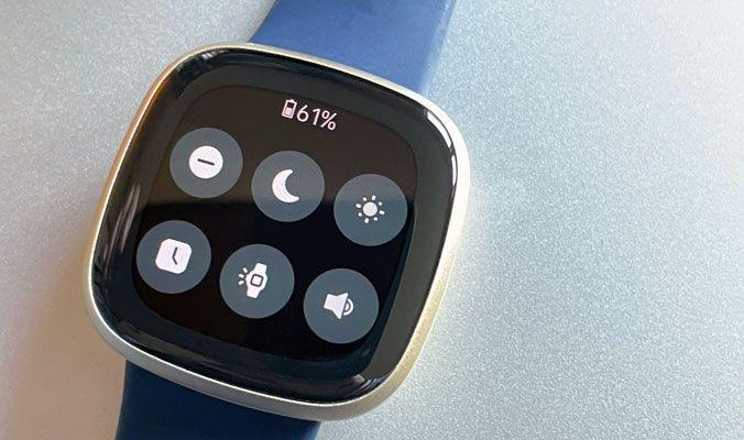 Quick Settings menu on Fitbit watch