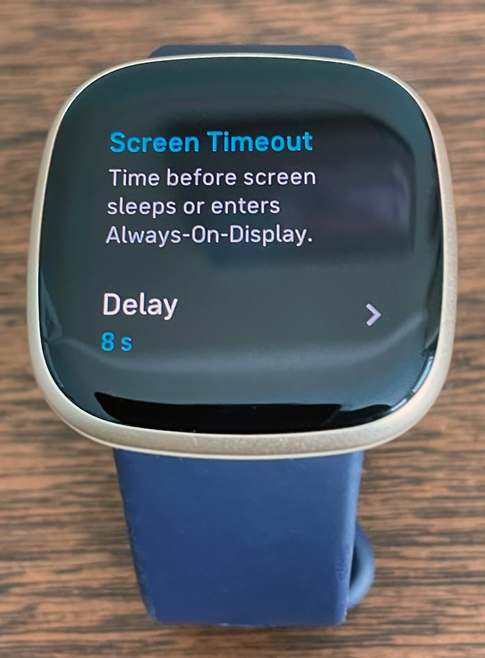 Screen timeout delay feature on Fitbit Sense and Versa 3