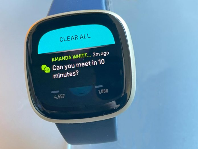Fitbit Versa text message sync from phone