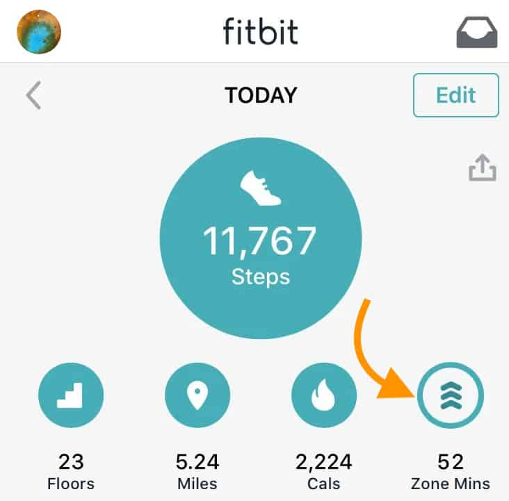 Fitbit app today view for active zone minutes