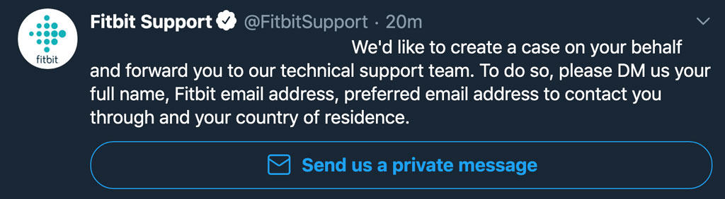 response for Fitbit on Twitter to send a private message