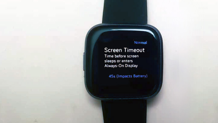 Screen timeouts settings on Fitbit Versa 2 and older models