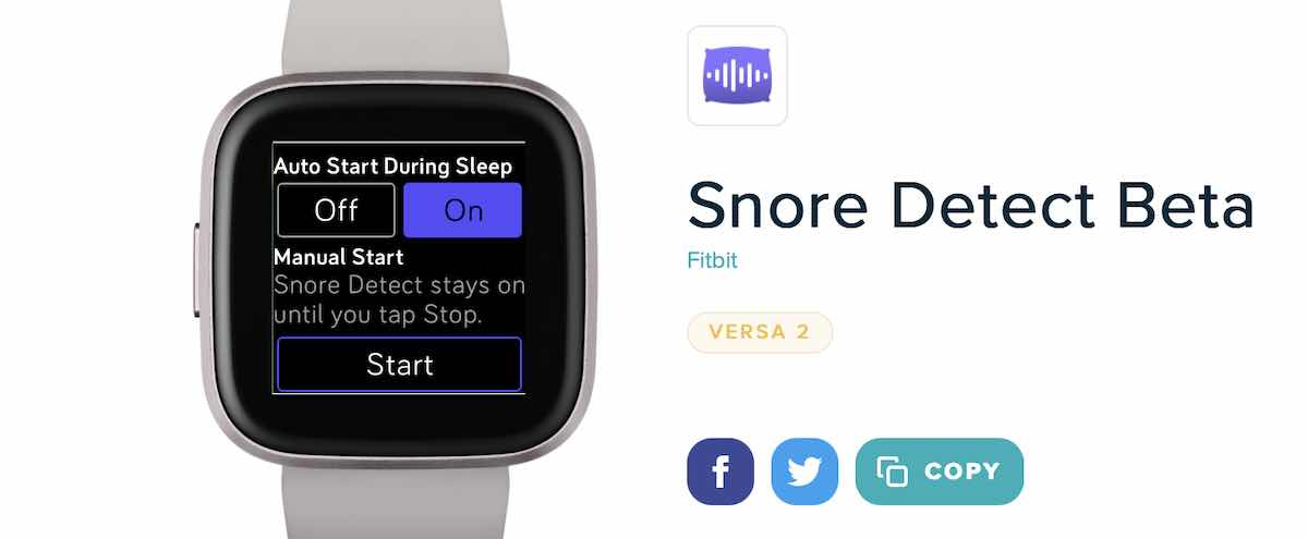 Fitbit Versa 2 Snore Detection app