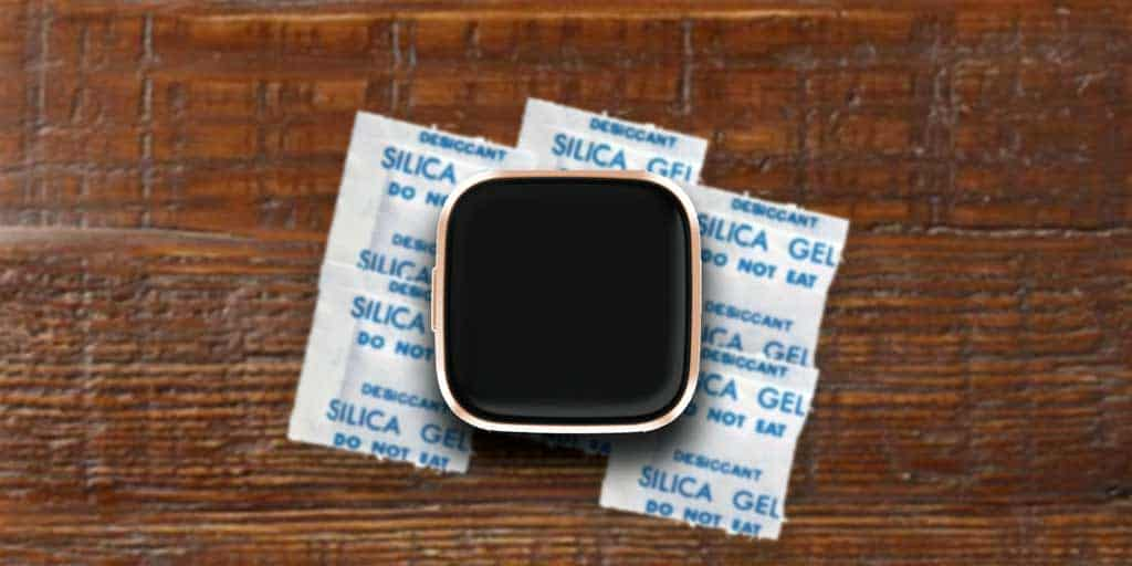 Fitbit dries faster with silica packets to absorb water
