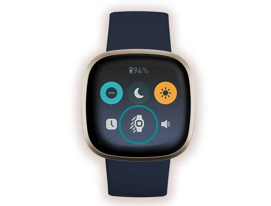 quick settings menu on Fitbit Sense and Versa 3