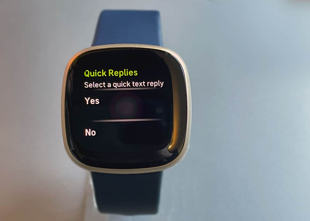 Quick Replies feature on a Fitbit Versa 3