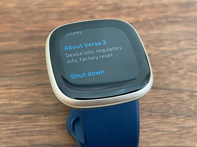 Shut down or About on Fitbit Versa 3 and Sense