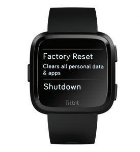 Factory Reset or Shutdown menu on Fitbit Versa