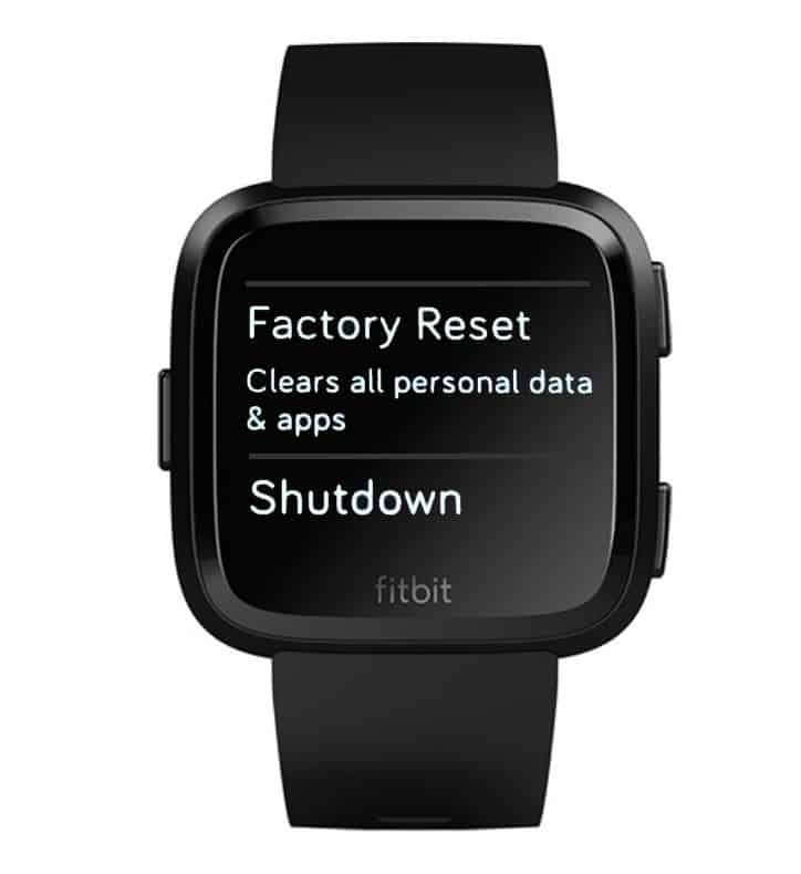Factory Reset or Shutdown menu on Fitbit Versa