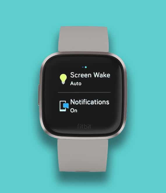 quick settings for screen wake or tap to wake on Fitbit Versa