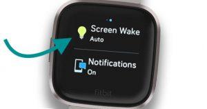 Fitbit screen wake quick setting