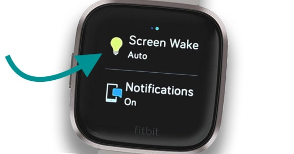 Fitbit screen wake quick setting