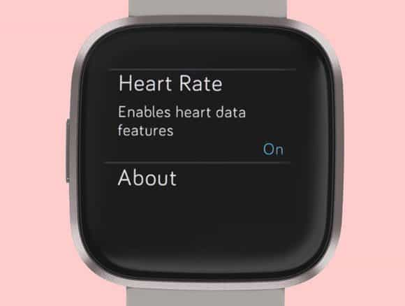 heart rate on and enabled on Fitbit Versa