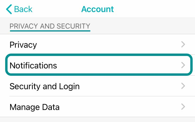 Fitbit app account settings for notifications