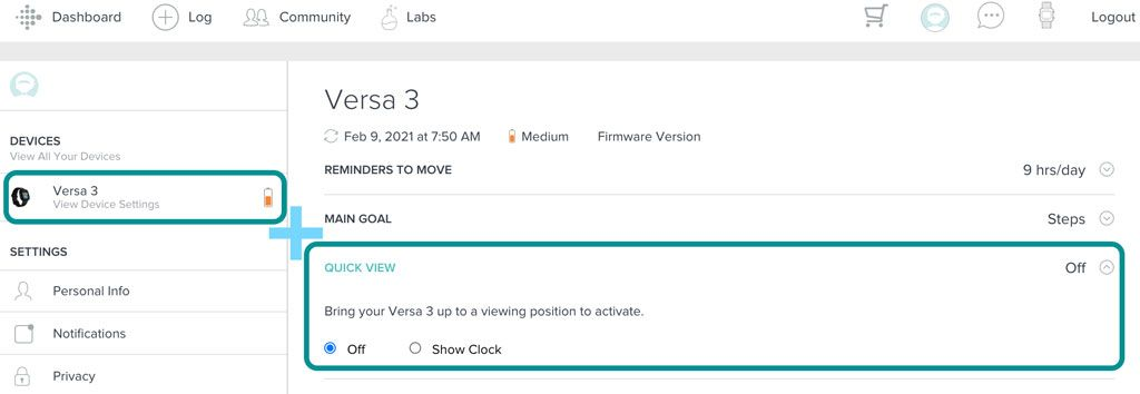 Quick view settings for screen wake on Fitbit website account dashboard
