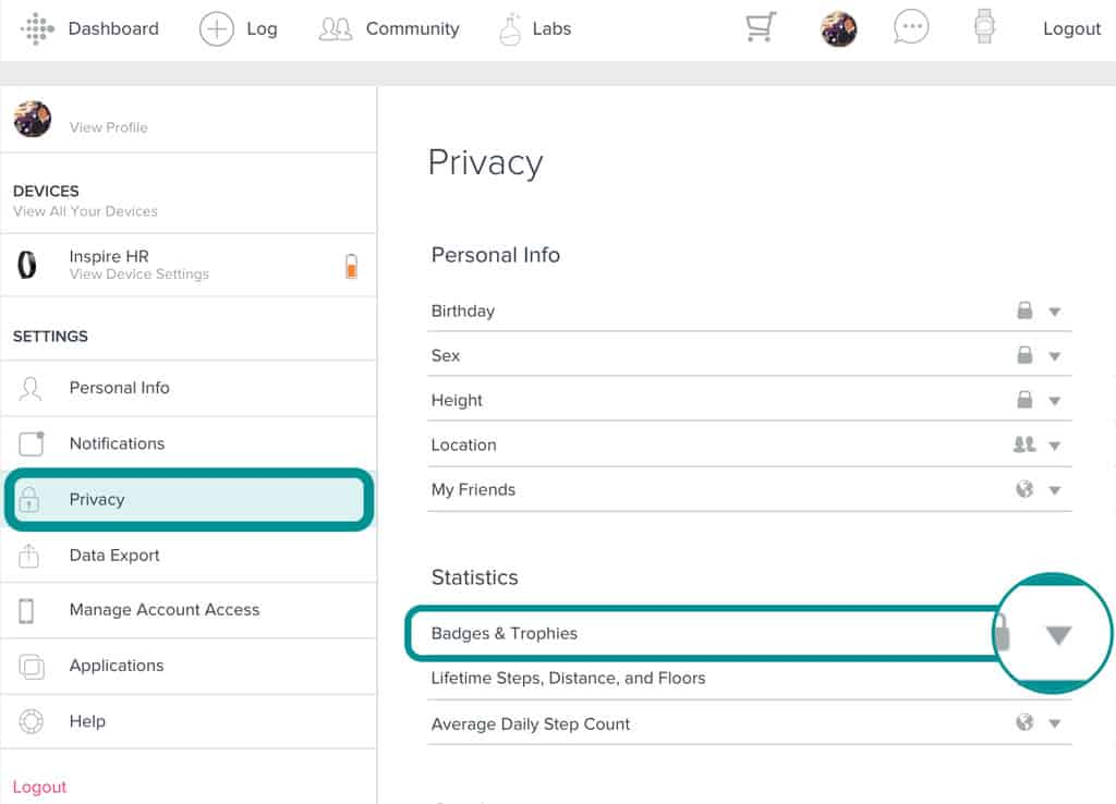 Change privacy settings for Fitbit badges and trophies online