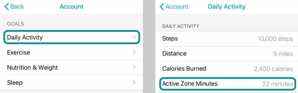 active zone minutes setting on Fitbit app