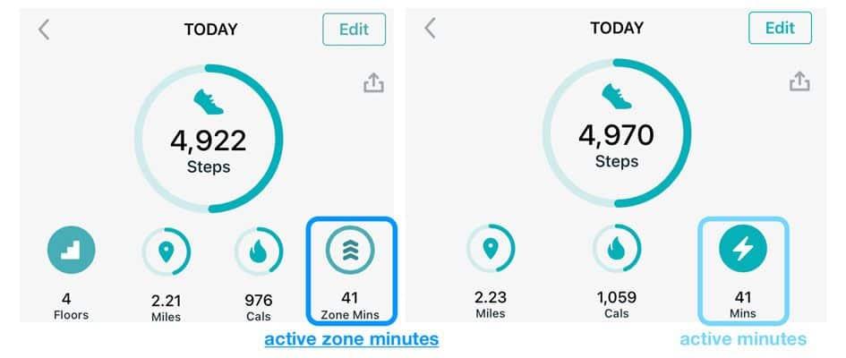 Fitbit app today view of active minutes versus active zone minutes
