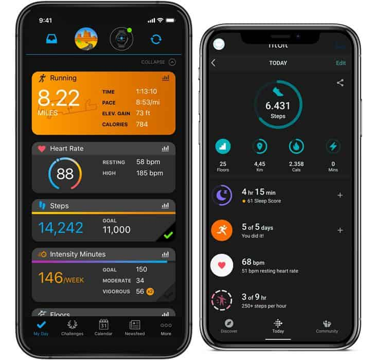 Garmin Connect app and Fitbit app