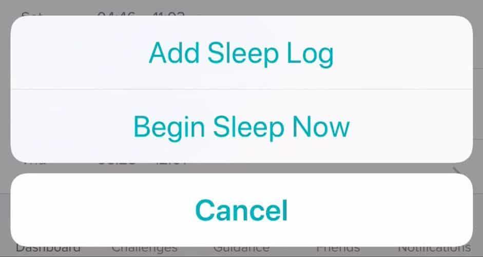 Begin Sleep Now option Fitbit app