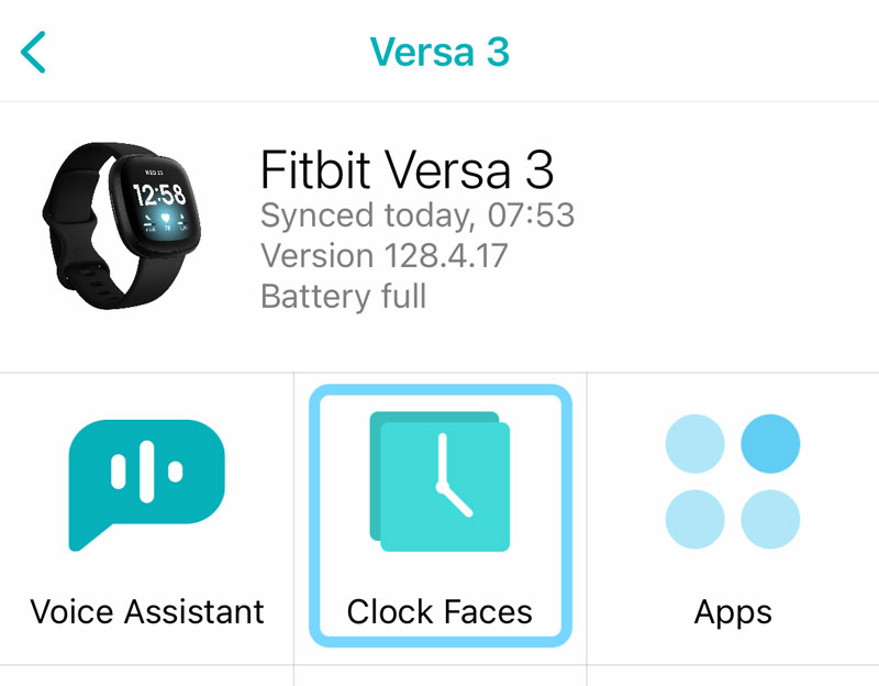 clock faces in the Fitbit app