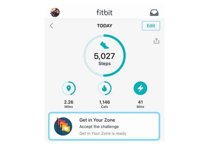 get in your zone card in Fitbit app Today