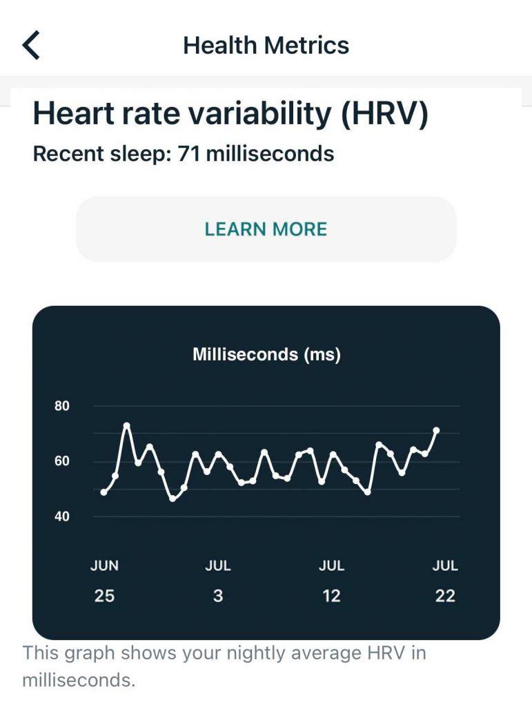 HRV info in Fitbit App Health metrics