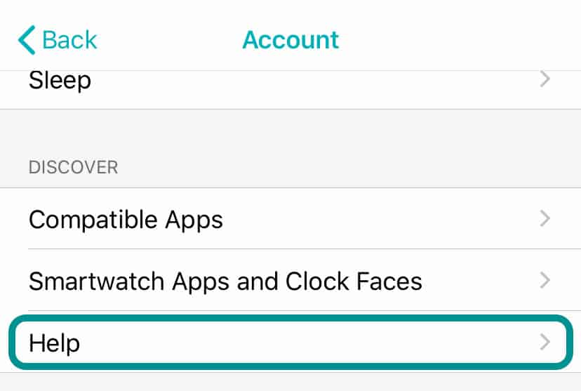 help section in Fitbit app