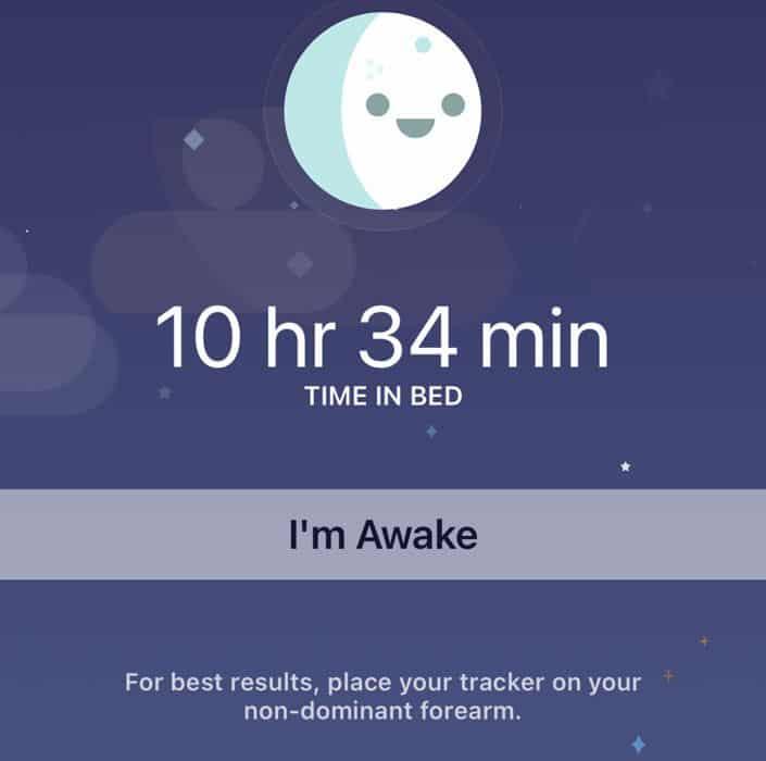 I'm awake in Fitbit app