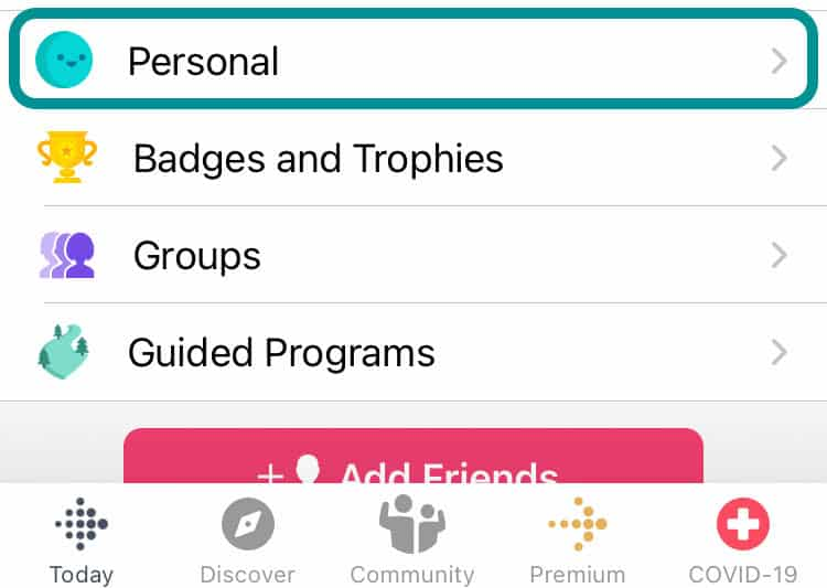 personal information in Fitbit app