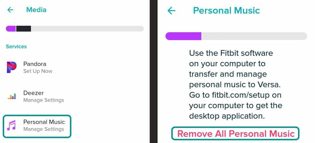 Delete all your personal music from your Fitbit using the Fitbit app