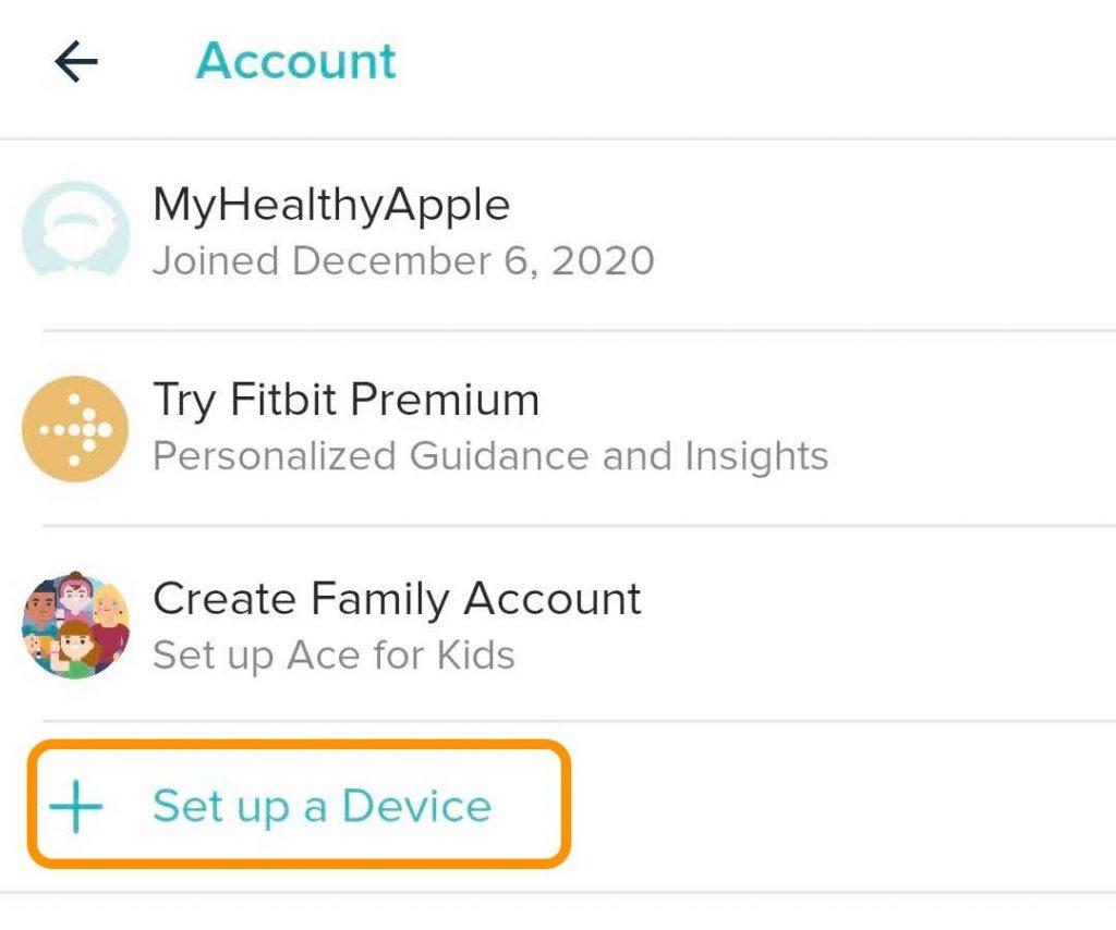 Fitbit app Set Up a Device