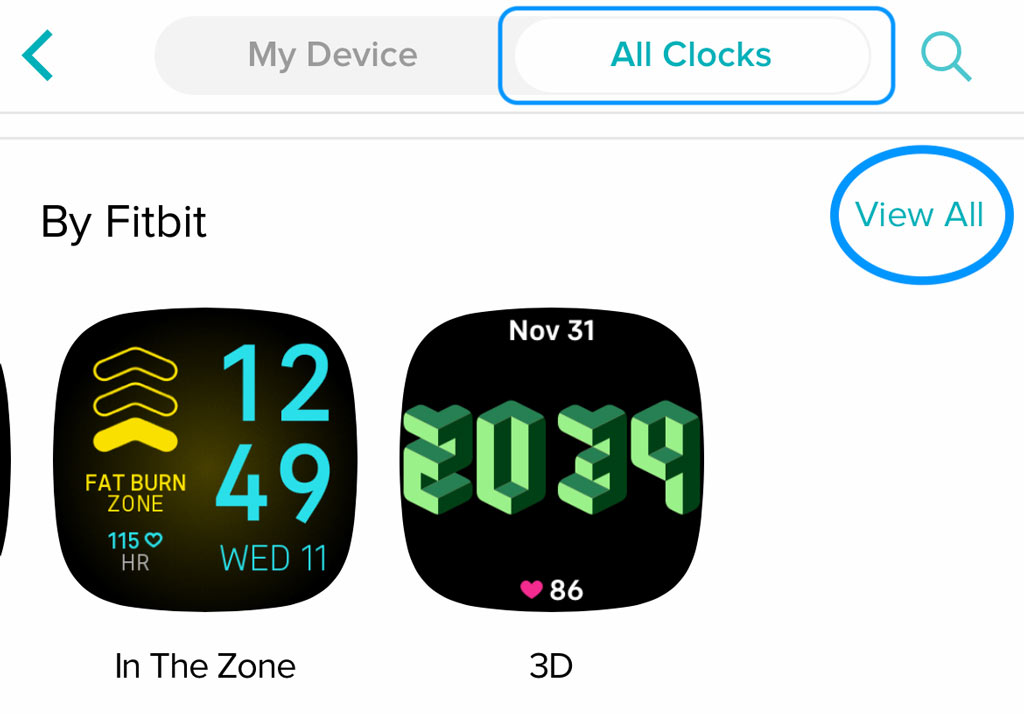 view all By Fitbit clock faces in the Fitbit app
