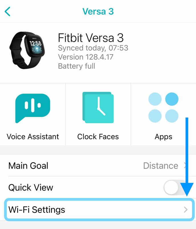Wi-Fi Settings in Fitbit app