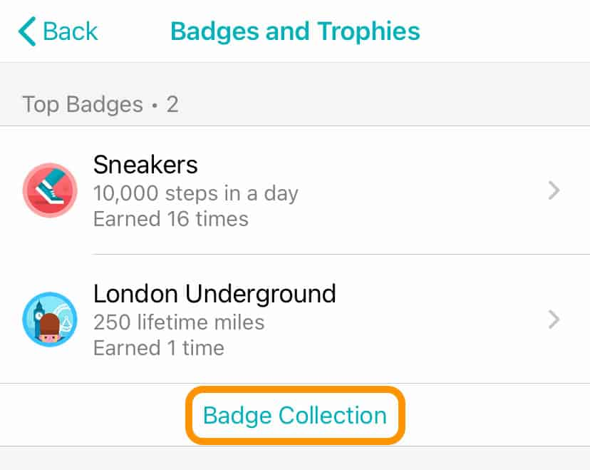 badge collection settings in Fitbit app