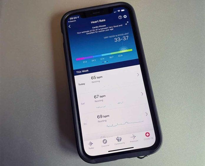 cardio fitness score in Fitbit app