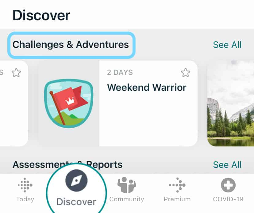 Fitbit app Discover tab and challenges and adventures